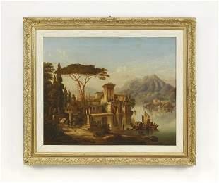 Early 20th c. Italian O/c village scene