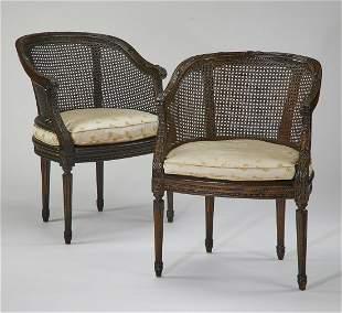 (2) English Regency style barrel back armchairs