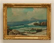 E. Pasini (Italian) signed O/c seascape, 19th c.