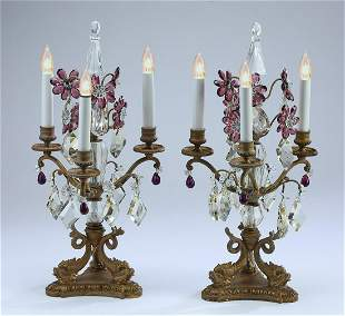 (2) Bronze and cut glass electrified candelabra