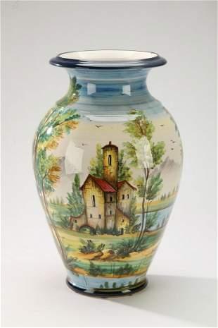 Hand painted Italian majolica scenic vase