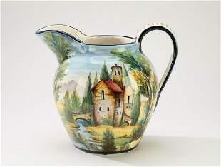 Hand painted Italian majolica scenic pitcher
