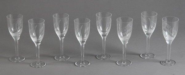 3: Set of 8 Lalique wine glasses