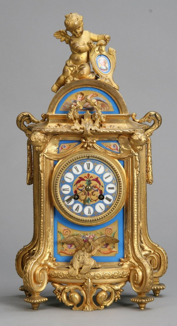 9: 19th c. Sevres porcelain clock