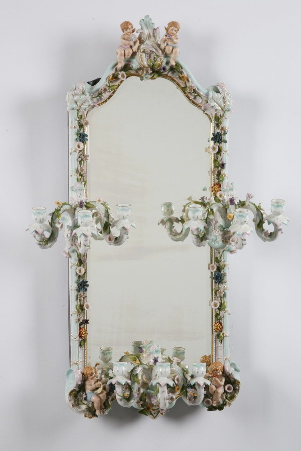 10: 19th c. Meissen porcelain mirror