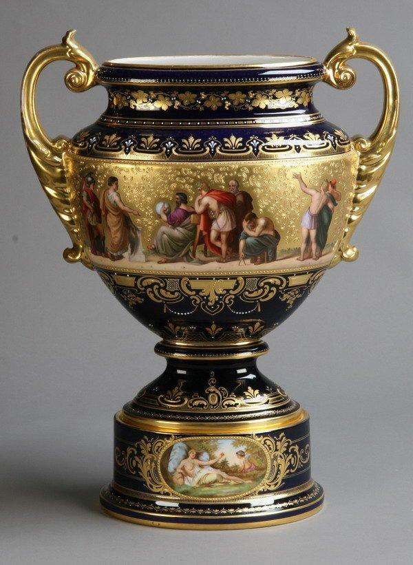 14: 19th c. porcelain urn, marked Royal Vienna