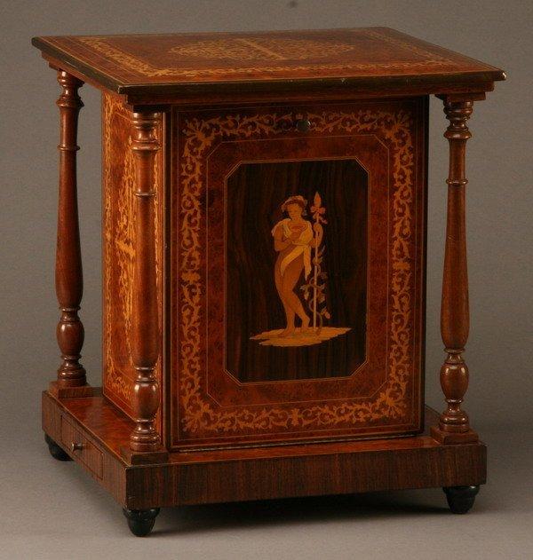 17: 19th c. marquetry inlaid tantalus case