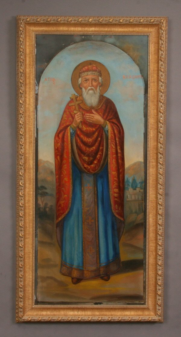 21: Oil on canvas Russian Orthodox icon
