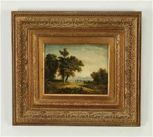 Contemporary oil on board landscape scene, signed