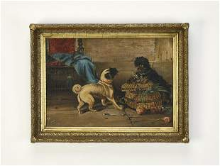 19th c. British School O/c of playful terriers