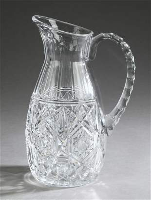 "Baccarat 'Lagny' pattern cut crystal pitcher, 10""h"