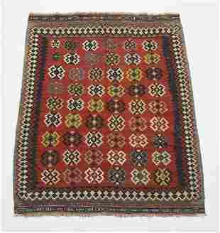 Hand woven wool Persian Qashqai kilim, 6 x 6
