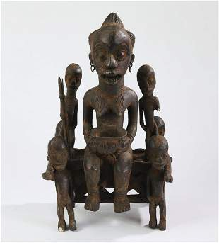 Yoruba hand carved wooden shrine figure
