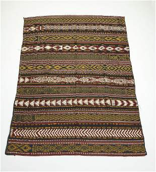 Early 20th c. hand woven Uzbek kilim, 10 x 7