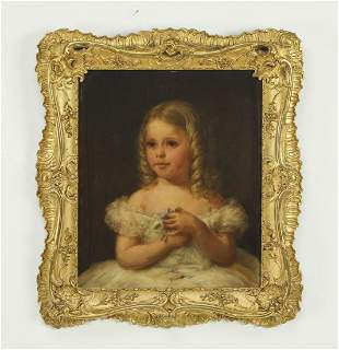 19th c. Continental O/c portrait of a young girl
