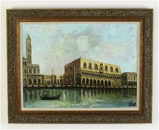 Italian O/c of Doge's Palace in Venice along canal