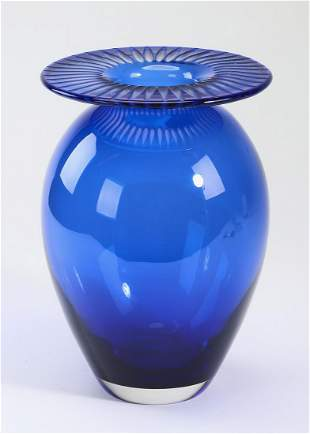 Tiffany & Co cobalt cut to clear crystal vase