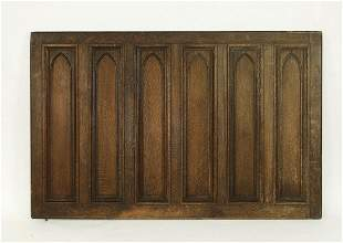 Early 20th c. French Gothic Revival carved oak panel
