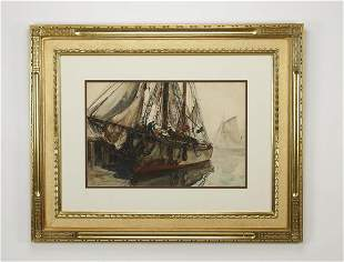 Signed Anthony Thieme (American) mixed media seascape