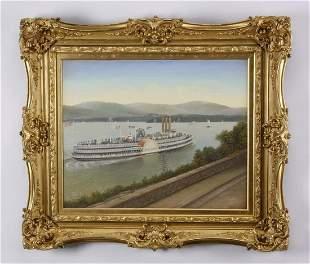 Albert Nemethy signed O/c, Hudson River steamer