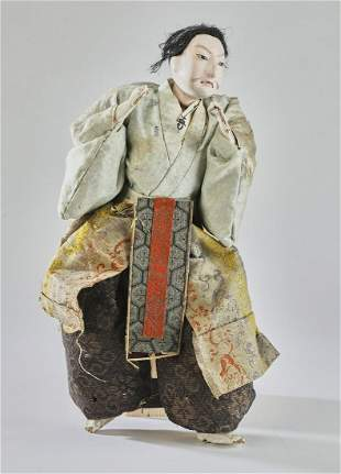 Japanese gofun musha ningyo doll of a fighting hero