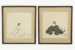 (2) 19th c. ink and gouache Japanese icon portraits