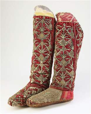Bukhara silver embroidered velvet boots