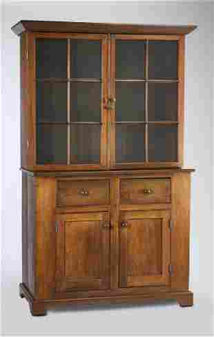 19th c. American Primitive walnut chiina cabinet