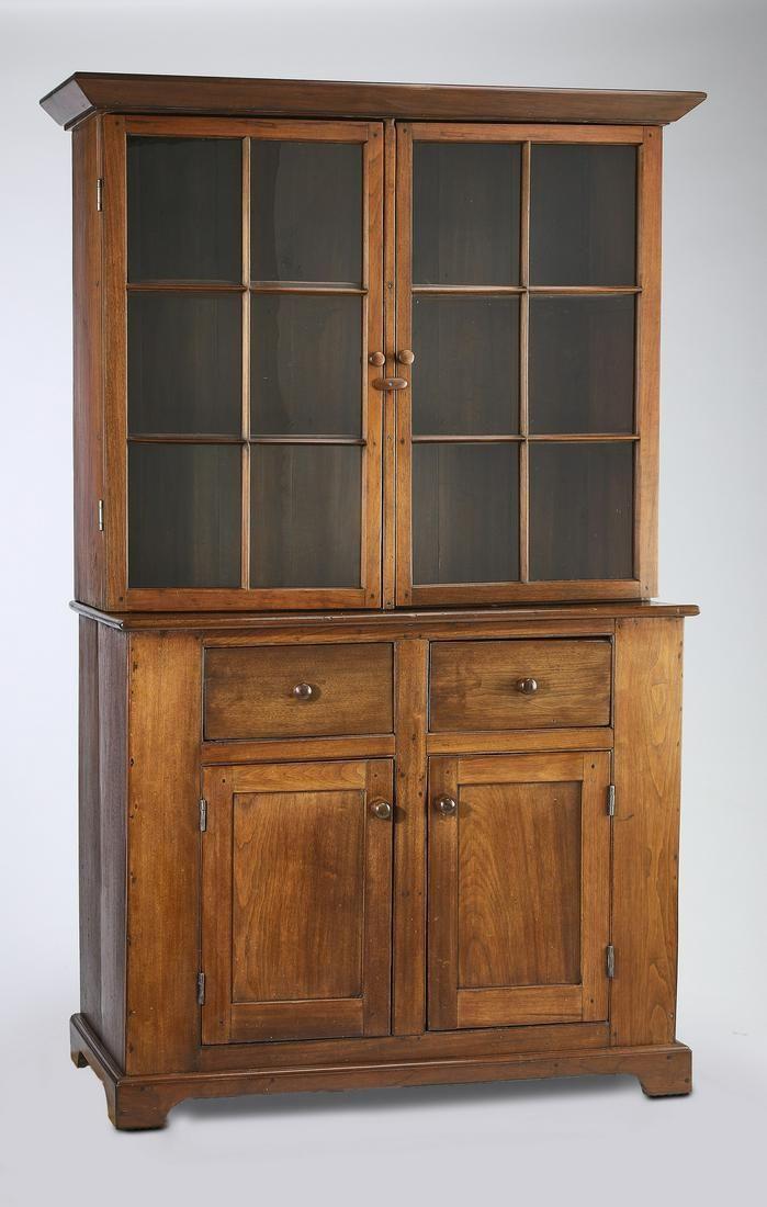 19th c. American Primitive walnut chiina cabinet