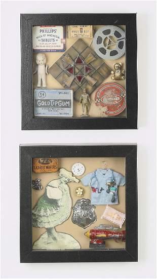 (2) Vintage style ephemera shadowboxes