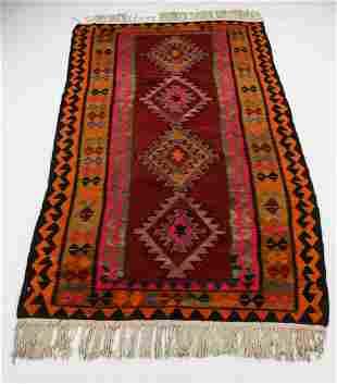Afghan hand woven wool geometric kilim, 5 x 10