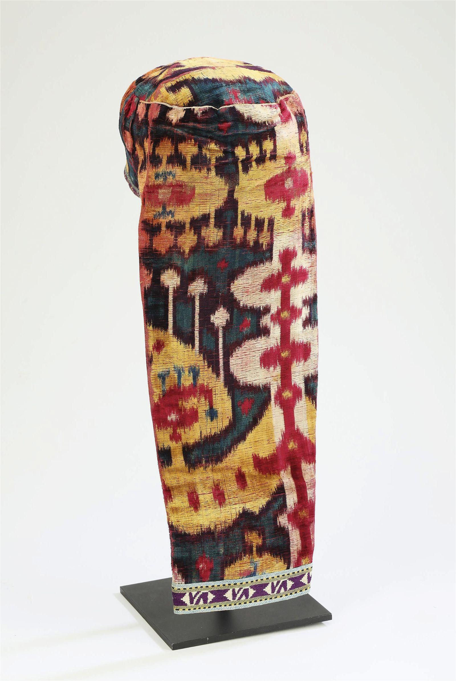 19th c. silk velvet ikat bridal hat