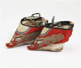 "Chinese silk shoes for bound feet, 6""l"