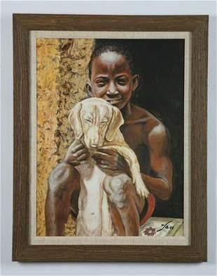 Fabian Barrero (Cuban) signed O/c, young boy with dog