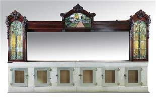 Early 20th c. marble and stained glass back bar
