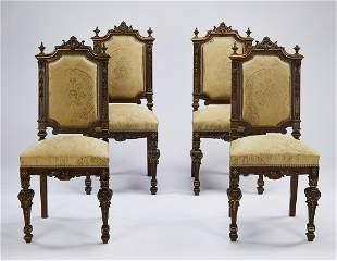 (4) 19th c. parcel gilt walnut side chairs in silk