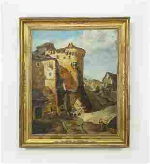 Signed French School O/c village scene, early 20th c.