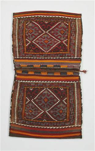 Hand woven wool Uzbek double saddle bag 5 x 3