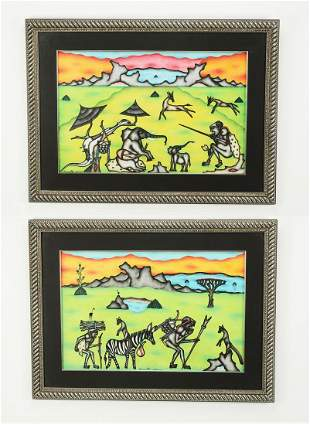 (2) Signed Kivuthi Mbuno mixed media hunt scenes