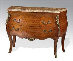 Italian marquetry inlaid marble top commode