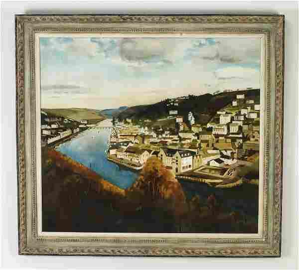 "American School O/b river landscape, signed, 44""w"