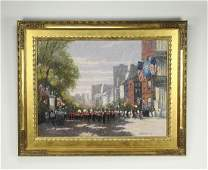 Signed, dated John Terelak O/c cityscape with parade