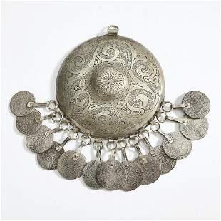 Amazigh (Berber) silver metal pendant w/ coins