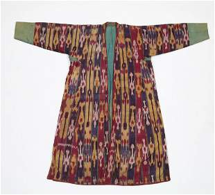 19th c. hand loomed silk and cotton Ikat coat