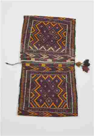 Hand woven wool Uzbek double saddle bag