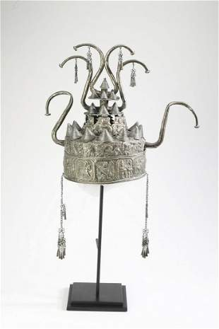 Chinese Miao silver metal ceremonial headdress
