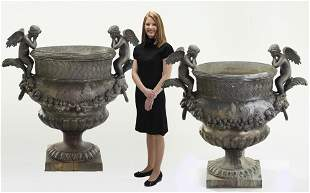 (2) Monumental double handled bronze urns