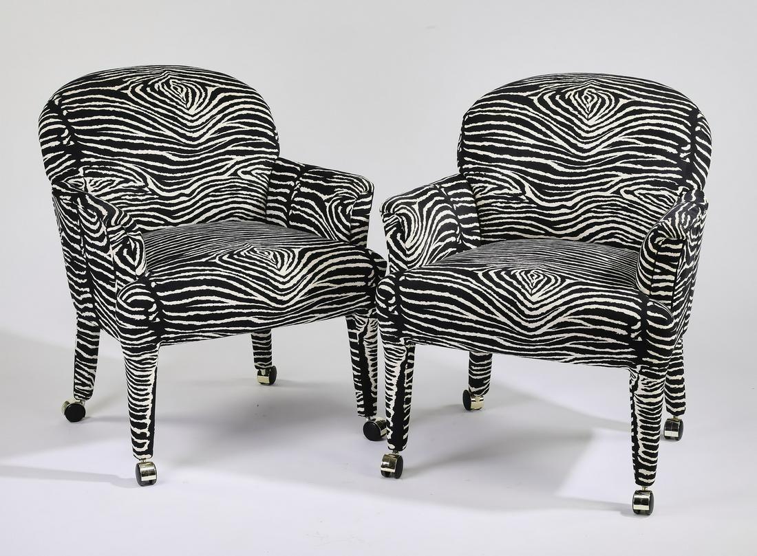 (2) Armchairs upholstered in faux bois velvet