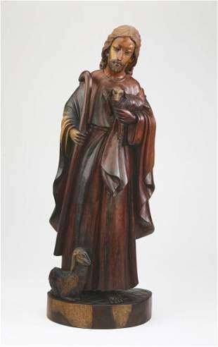Indonesian sculpture of Jesus, the Good Sheperd