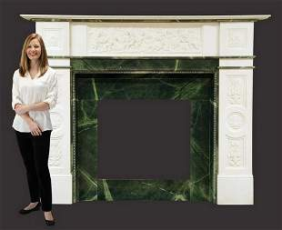 """Monumental carved marble mantel, 72""""h"""